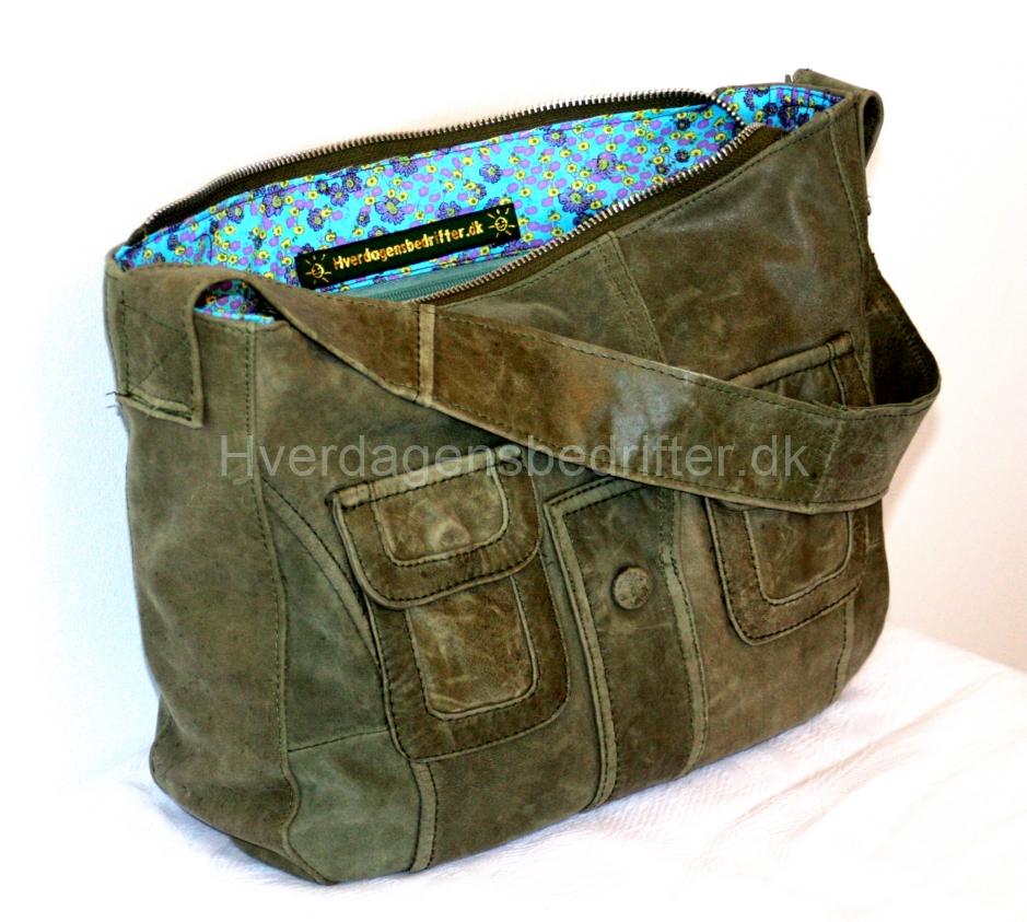 grøn lædertaske lille