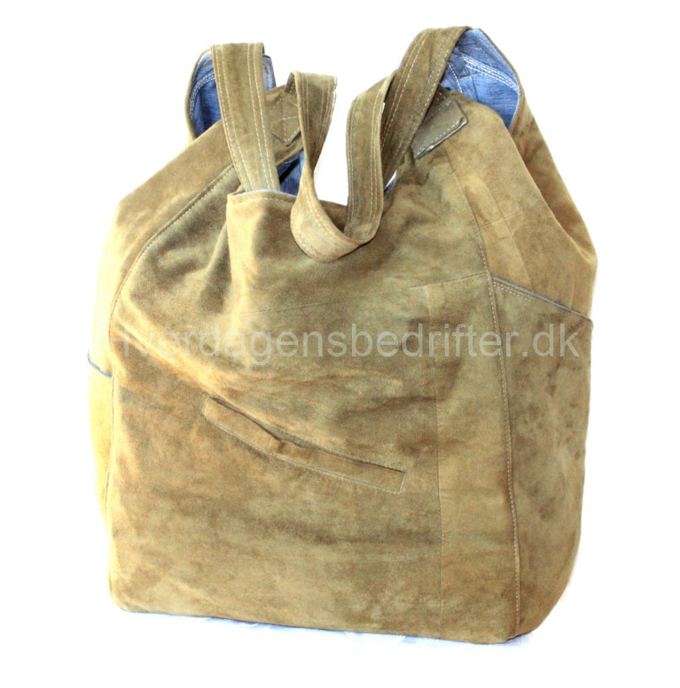 blød ruskind shopper med denim foe