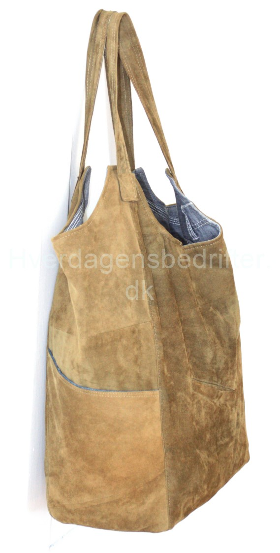 blød ruskind shopper med denim for 1