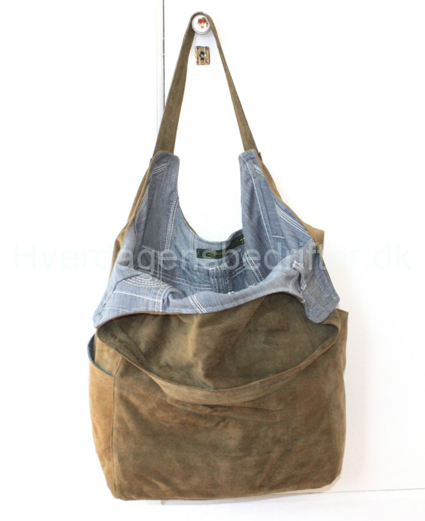 blød ruskind shopper med denim for 3