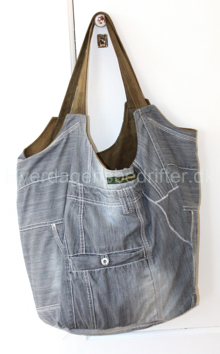 blød ruskind shopper med denim for 4