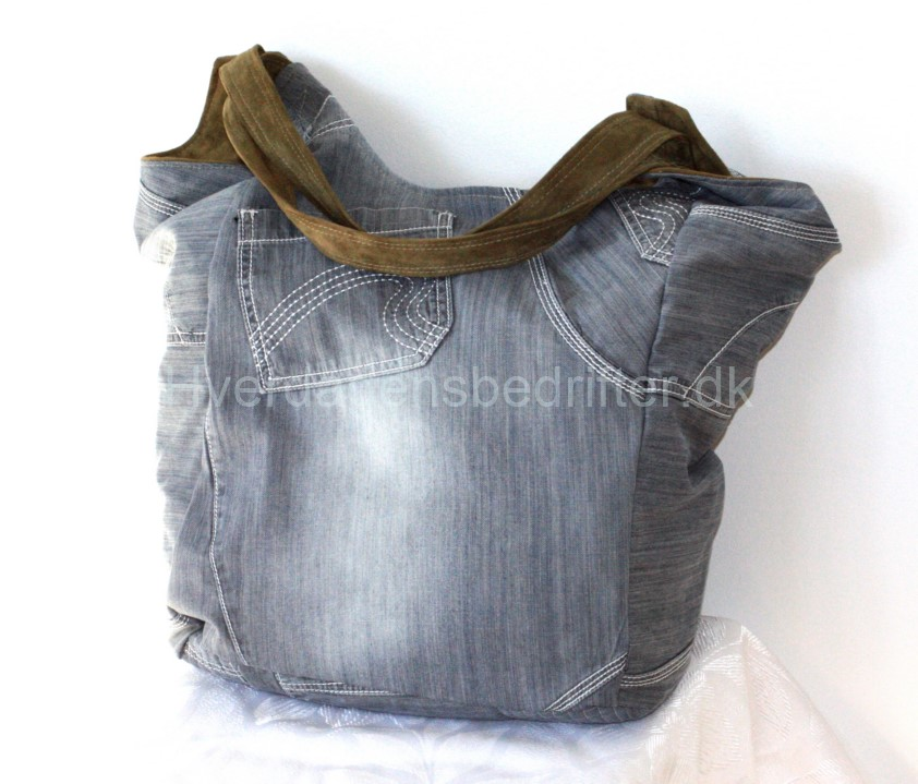 blød ruskind shopper med denim for 5