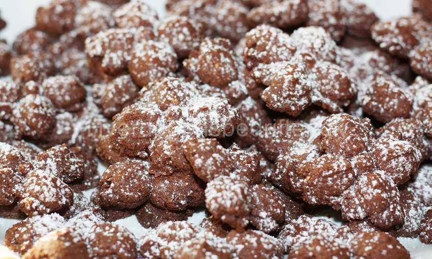 Chokolade småkager drysset med flormelis