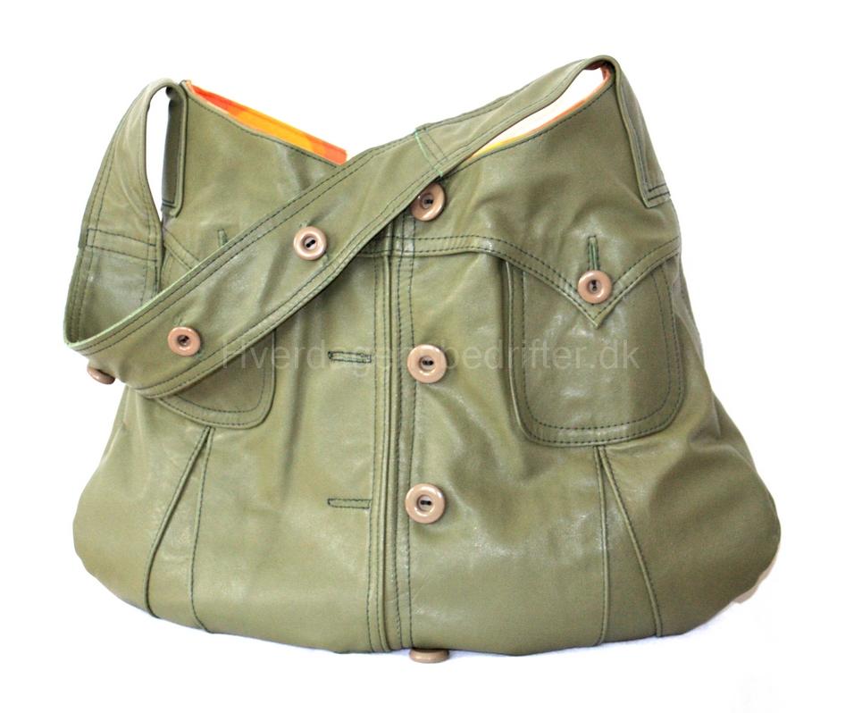 Grøn taske af læderjakke