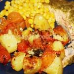 Laks med bagte kartofler